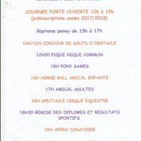 Fête du club 1er juillet : Porte ouverte,  spectacle  et baptême poney gratuit